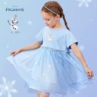 迪士尼女童短袖连衣裙夏儿童网纱裙子宝宝公主裙2021新款洋气童装