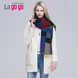 冬季新款拼色舒适保暖围巾