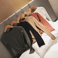 【南大人】春季新款不规则针织衫韩版修身毛衣女士上衣色打底衫 砖红色 现货秒发
