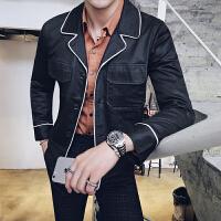 新款2018秋冬男士夹克韩版修身西装领休闲外套青少年个性潮流衣服