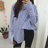 韩国学院风复古百搭经典条纹长袖衬衫宽松喇叭袖翻领纯色衬衣女