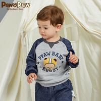 【3件4.5折 到手价:179】Pawinpaw卡通小熊童装秋男宝宝立体小熊长袖套头卫衣