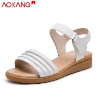 奥康女鞋夏季凉鞋中年妈妈凉鞋低跟休闲透气女凉鞋