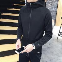 男士夹克外套春秋季新款潮韩版修身运动男装抓绒休闲连帽上衣