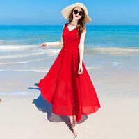 海边度假裙备雪纺连衣裙红色夏季女长裙高腰宽松韩版V领沙滩裙