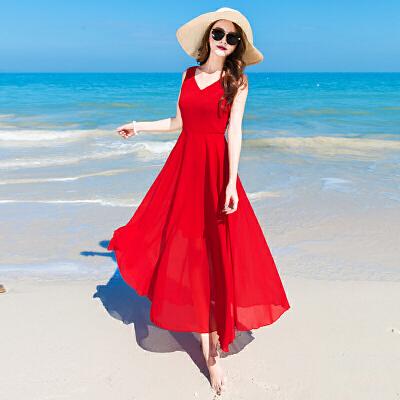海边度假裙备雪纺连衣裙红色夏季女长裙高腰宽松韩版V领沙滩裙 发货周期:一般在付款后2-90天左右发货,具体发货时间请以与客服协商的时间为准