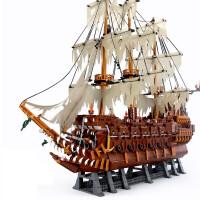 兼容乐高兼容加勒比海盗船黑珍珠安妮女王玛丽号帝国战舰 瓶中船 拼装积木 荷兰号 3652颗粒