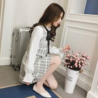 2018春装新款韩版显瘦气质小香风长袖假两件裙子呢子套装连衣裙女 图片色