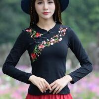 民族风女装秋新款立领盘扣绣花长袖T恤修身打底衫女士上衣