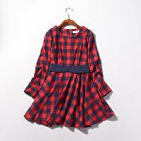 2018春季新韩版女装圆领格子女式中长长袖连衣裙