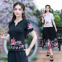 中国风上衣2018夏装新款 民族风刺绣女T恤短袖绣花修身大码打底衫