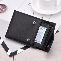 男士钱包带驾驶证一体新款卡包软皮一体包可以放驾照短款折叠 黑色 可放驾驶证