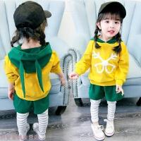 冬季女宝宝秋装0小童洋气套装1-3岁时尚2婴儿衣服4女童时髦卫衣两件套秋冬新款