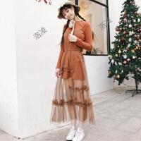 春夏新款女装日系软妹长袖连衣裙+背心网纱蕾丝花边中长裙子套装