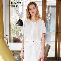 海贝2018夏季新款女装上衣 V领短袖纯棉白色套头衬衫