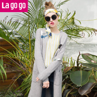 【满200减100】Lagogo拉谷谷2016冬新款百搭外套女中长款纯色针织衫FDMM83O225