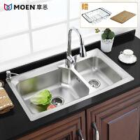 MOEN/摩恩 优质304不锈钢大尺寸双槽厨盆水槽套装 铎致23601+MCL7594C