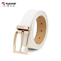 啄木鸟青年时尚韩版白色针扣皮带