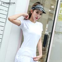 【折上1件8折/2件7.5折】Kombucha瑜伽健身T恤2019新款女士网纱拼接弹力速干运动短袖上衣JCTX002