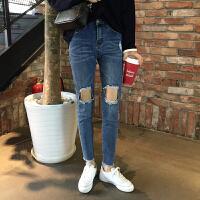 春夏韩版修身做旧破洞毛边九分小脚铅笔裤显瘦高腰牛仔裤女长裤潮