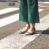 茵曼女鞋2018年夏季新款荷叶边一字扣带单鞋中空女鞋4884050054