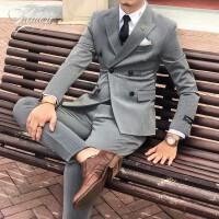西装套装男身双排扣小西服新郎结婚礼服
