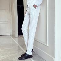 春秋季男士个性条纹休闲西裤百搭直筒休闲裤发型师裤子小脚哈伦裤