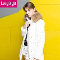 【满200减100】lagogo拉谷谷冬季新款白色大毛领中长款直筒羽绒服加厚外套女EDF453G706