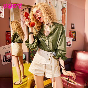 【限时直降:101】妖精的口袋微喇裤新款chic休闲裤ins超火的短裤子女