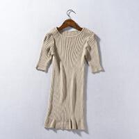 【5】C#17 秋季韩版女装纯色圆领套头短袖针织衫毛衣