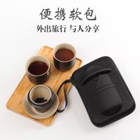 陶瓷快客杯黑陶茶杯一壶二杯旅行便携茶具