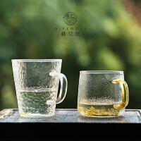 锤纹耐热玻璃杯透明带把泡茶杯马克杯水杯 家用办公室茶杯