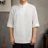 中国风男装亚麻盘扣民国服装复古男士七分袖唐装T恤宽松棉麻禅服