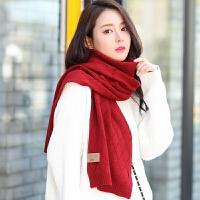 韩版学生秋冬季针织男女情侣纯色毛线围巾简约百搭酒红色黑色
