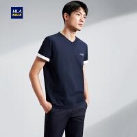 HLA/海澜之家经典V领短袖T恤2020夏季新品简约净色微弹短T男