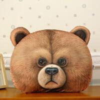 个性3D老虎狮子豹子熊猫兔子毛绒抱枕靠垫可拆洗结婚庆礼物 尺寸见详情描述