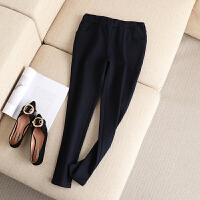 大码女装冬装新款松紧高腰纯色长裤黄金绒内胆加绒加厚小脚裤