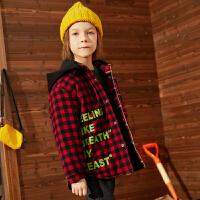 【2件3折:155】巴拉巴拉旗下巴帝巴帝2019冬男童儿童棉衣中大童格纹夹棉保暖棉服外套