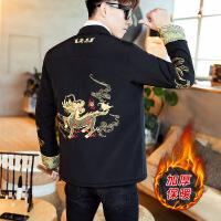 立领中山装男士改良汉服青年修身中式外套中国风盘扣男装刺绣唐装