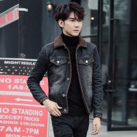 加绒牛仔外套男修身秋冬装加厚夹克羊羔毛领青年帅气潮流冬季棉衣 复古色