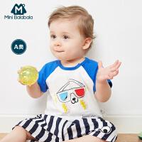 迷你巴拉巴拉婴儿短袖T恤儿童2018针织撞色夏装男童宝宝体恤衫