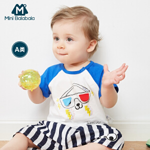迷你巴拉巴拉婴儿短袖T恤儿童针织撞色夏装男童宝宝体恤衫