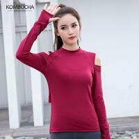 【女神特惠价】Kombucha瑜伽健身长袖T恤女士性感露肩速干透气运动上衣JCCX440