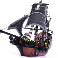 黑珍珠号模型加勒比海盗船积木儿童6智力拼装8玩具10岁男孩子