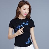 中国风夏装新款 民族风女装上衣立领盘扣绣花修身棉T恤大码衫