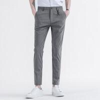 Lee Cooper春夏季修身小脚裤子男士商务条纹西裤直筒微弹青年休闲裤