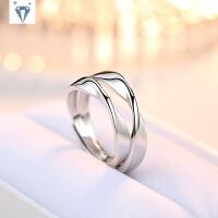 925纯银莫比乌斯环戒指情侣一对 简约日韩版个性活口对戒男女指环