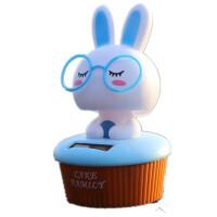 汽车摆件车载车内饰品 太阳能公仔摇头可爱兔子创意情侣卡通娃娃