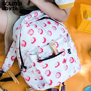 【支持礼品卡支付】soundbyte音浪新款百搭校园风学生书包中学生女红点印花双肩包