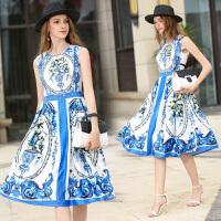 夏季新款欧美女装青花瓷瓶印花圆领无袖中长背心裙修身连衣裙